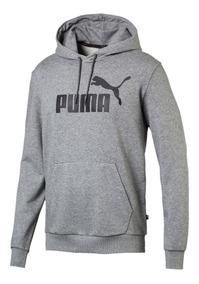 Blusa Moletom Puma Ess Hoody Tr Big Logo Masculino Cinza