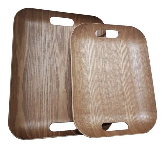 Set X 2 Bandejas Madera Deluxe Desayunador Bamboo