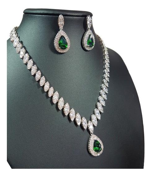 Colar E Brincos Cravejados De Zircônia Gota Verde Esmeralda