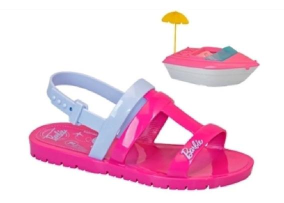 Sandália Infantil Grendene Barbie C/lancha Pronta Entrega
