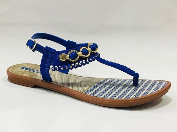 Sandalia De Goma De Mujer (vizzia 486) Negro, Azul, Beige