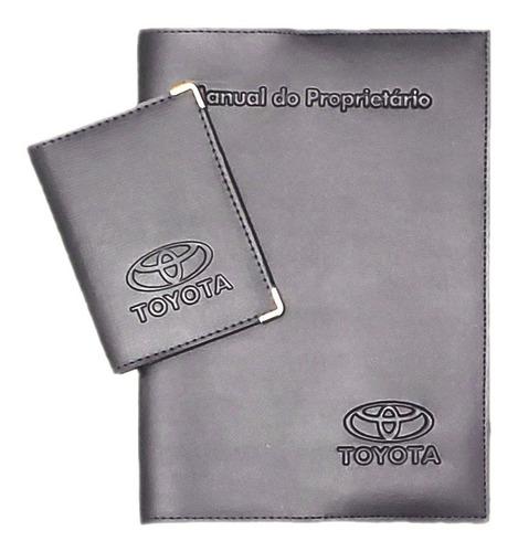Kit Toyota Porta Manual E Porta Documento Couro Eco