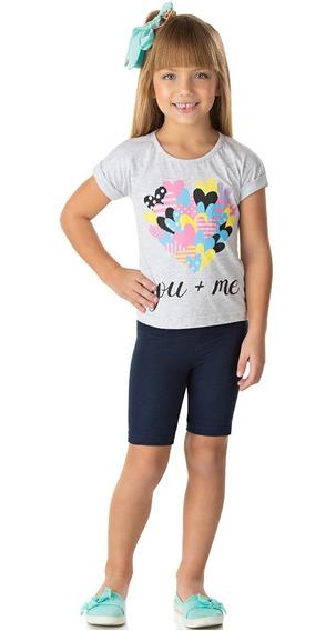 Roupa Infantil Conjunto Blusinha E Bermuda Cotton Jeans