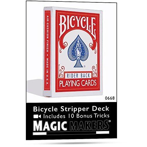 Magic Makers Bicycle Stripper Deck Con 10 Bonus Trucos (rojo