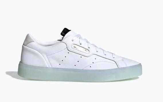 Zapatillas adidas Sleek Blanca-celeste De Mujer
