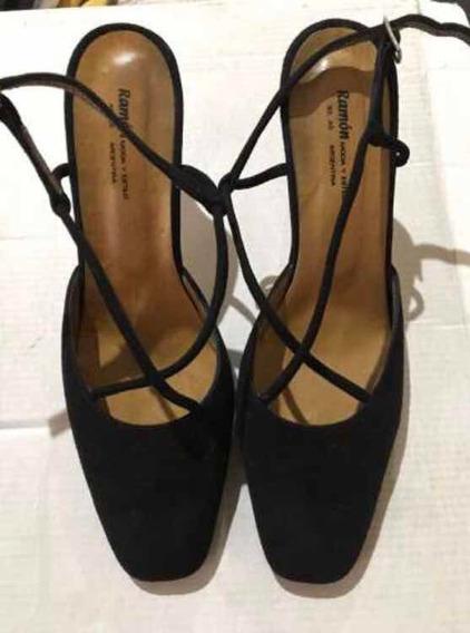 Zapatos Sandalias De Cuero De Dama Mujer Negros Taco Bajo