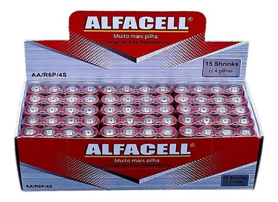 Pilha Alfacell Normal Comum Aa 2a R6p 1,5v Com 60und Atacado