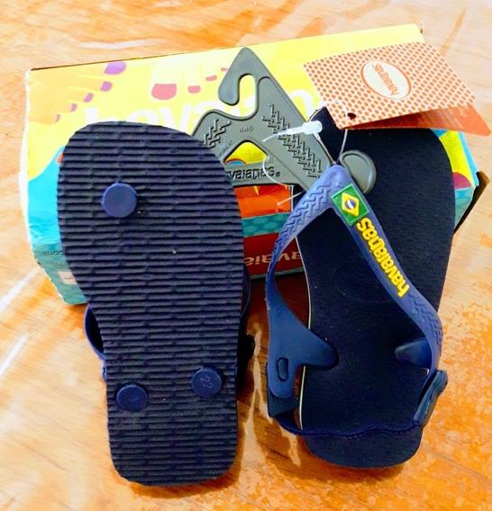 Ojotas Havaianas Baby Originales. Logo Brasil. Azul. Nuevas!