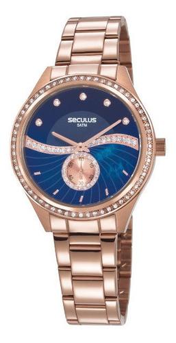 Relógio Seculus Feminino Rosê Grande Barato Prova De Água