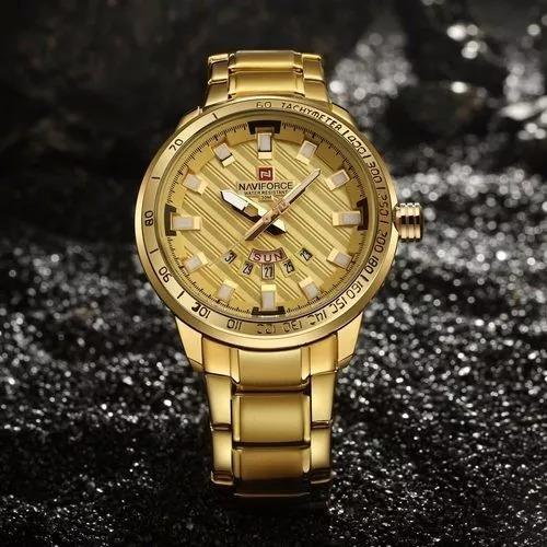 Relógio Naviforce Original Com Caixa Masculino Ouro Dourado