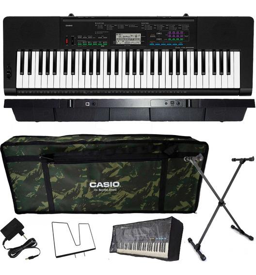 Kit Teclado Casio Ctk3400 Arranjador Musical 5/8 Camuflado