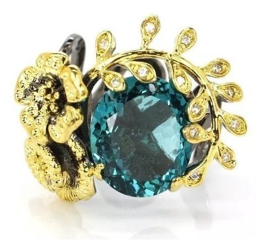 Anel Prata 925 Ouro Negro Feminino Pedra Natural Aro 19 20