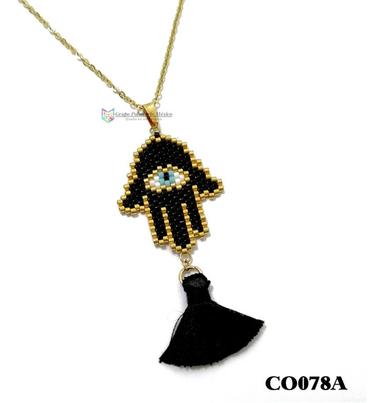 Collar Miyuki Mano Fátima Negro Acero Inoxidable Dorado