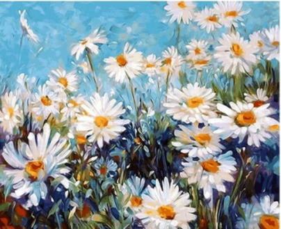 Pintura Numerada Campo De Margaridas Abstrato