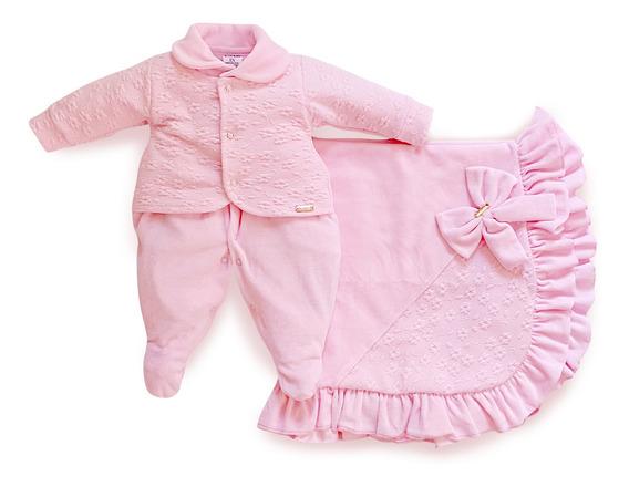 Saída Maternidade Menina Floral Rosa Maxi Baby
