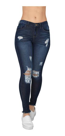 Pantalón Jeans Mujer Mezclilla Azul Desgastado Alta Cintura