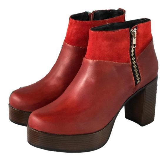 Bota Cuero Rojo