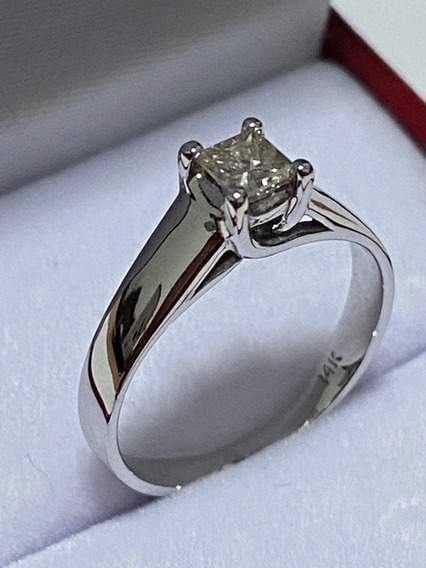 Anillo De Compromiso Diamante Natural Princess 0.30ct