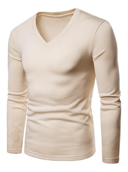 Camiseta En Color Liso Con Cuello En V