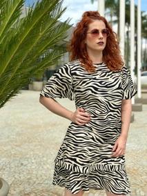 Vestido Curto Soltinho Peplum Manga Flare Rajado Zebra