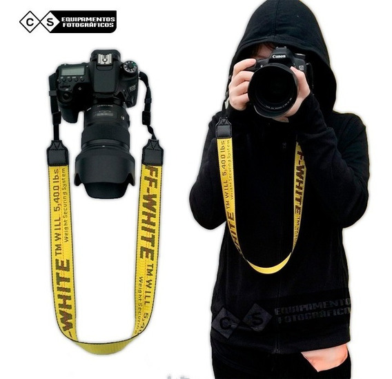 Alça Off-white Para Cameras Dslr - Canon / Nikon / Sony