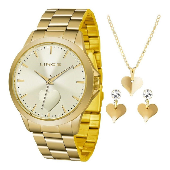 Kit Relógio Lince Feminino+gargantilha E Brinco Lrgj097lkw15