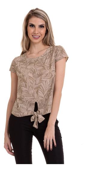 Blusa Crepe Estampada Amarração Na Cintura Bege Kinara