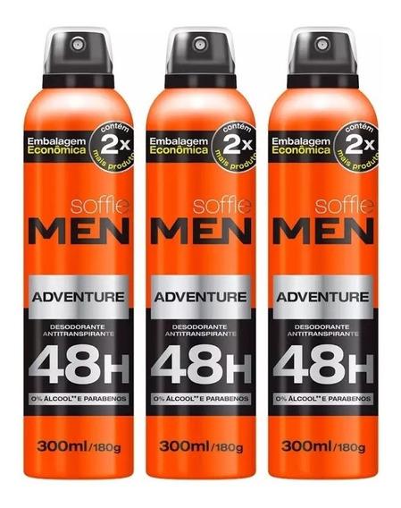 Kit 03 Desodorante Antitranspirante Soffie 48h 300ml