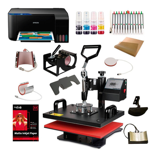 Maquina Estampar Sublimar 10en1 38x38+ Epson A4+ Tinta Papel