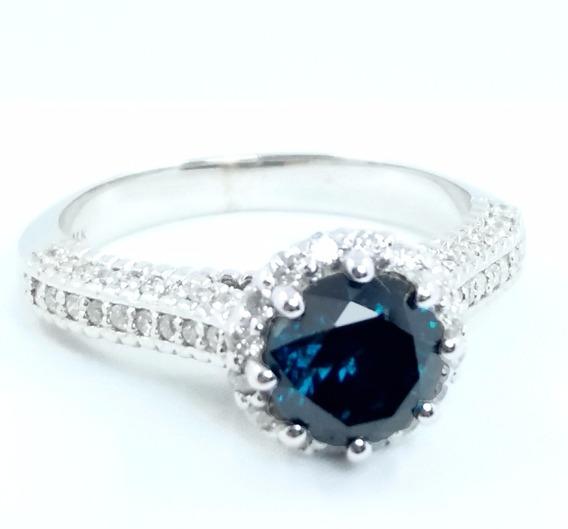 Anel Solitário Ouro Branco E Diamante Azul Verdadeiro 1.81ct