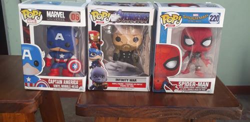 3 Muñecos Marvel Tipo Funko Pop