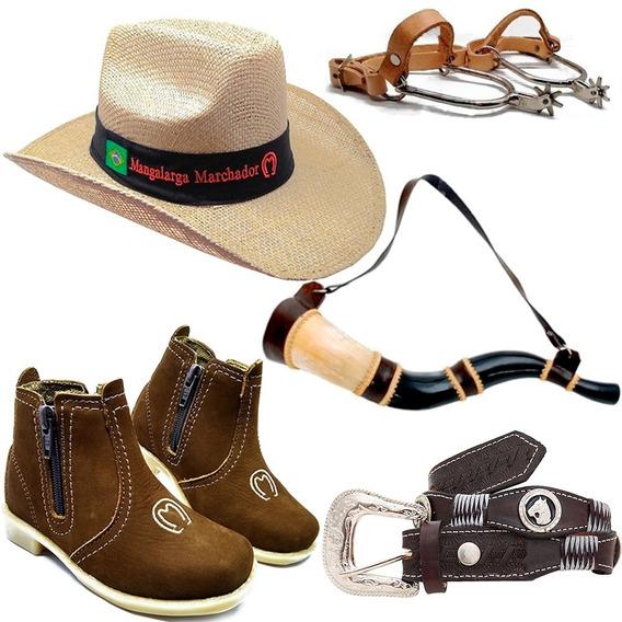 Kit Infantil Botina Cowboy Peao + Cinto Chapeu Cowboy Espora