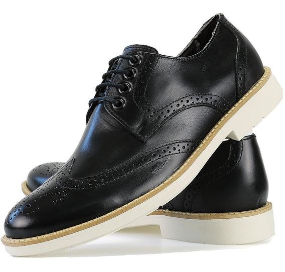 Sapato Social Casual Oxford Couro Legitimo Solado Branco