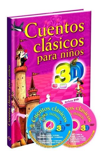Libro Cuentos Clásicos Para Niños 3d + 2 Dvds
