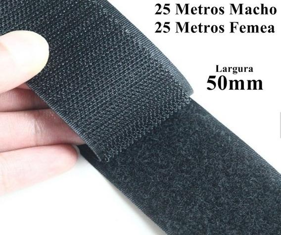 Kit Velcro Fita Laço Artesanato 50mm Preto Acessorios 25m