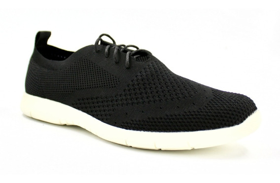 Tenis Casuales Hombre Tejido Bostonianos Textil Negro I90103