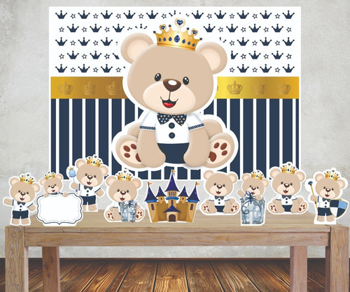 Imagem 1 de 4 de Kit Festa Completo Painel +  9 Displays Ursinho Chá De Bebê