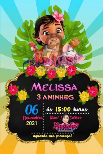 Imagem 1 de 1 de Convite Virtual Digital Moana Baby