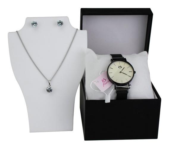 Relógio Feminino Rosê Dourado Original Pulseira Magnética