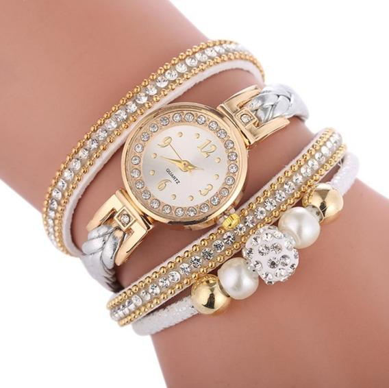 Relógio Feminino Pulseira 2 Pérolas Cristal Barato Promoção