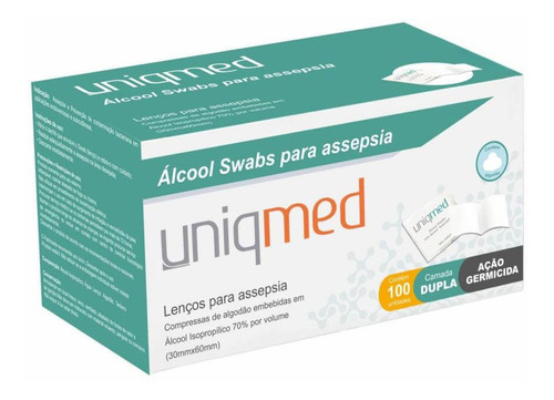 Álcool Swab 70% Saches Lenços Umedecidos 100un - Uniqmed