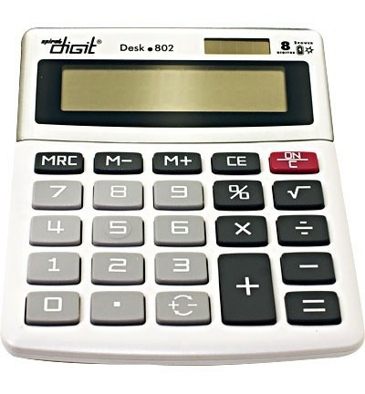 Calculadora De Mesa Bateria E Solar Com 8 Dígitos Cinza