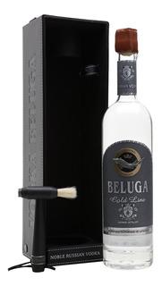 Vodka Beluga Gold Linea + Estuche Cuero + Cepillo Vodka Rusa