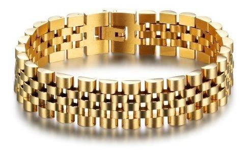 Pulseira Relogio Masculina Banhada Ouro Dourada 18k