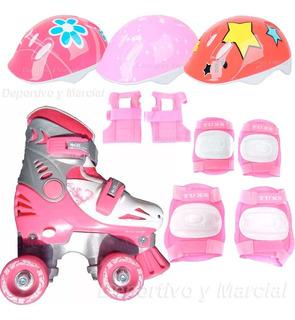 Kit Patines Extensibles Con Casco Y Protecciones Rosa Niñas