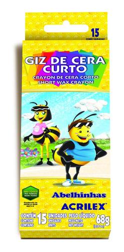 Crayones De Cera Corto Acrilex 15 Colores