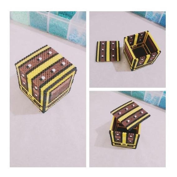 Porta Treco Jóias Baú Zelda Perler Beads 10x10cm