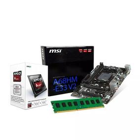 Kit Amd A4 6300 3.7 Ghz, Placa Mãe Msi A68hm-e33, 4gb Ddr3