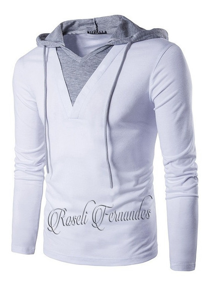 Blusa Manga Longa Masculina Camisa Com Capuz Cordão Decote V