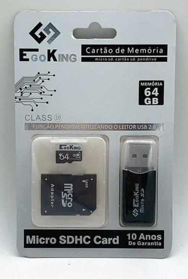 Cartão De Memória 64gb Ego King Classe 10 + Adaptador